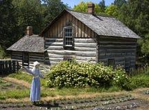 稻草人在农厂庭院和原木小屋里 库存图片