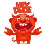 滑稽的与嘿花花公子标题的动画片红色小的恶魔emoji字符 免版税图库摄影