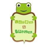 滑稽的与文本传染媒介的微笑逗人喜爱的动画片乌龟或青蛙自已企业框架哄骗例证 免版税库存照片