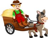 滑稽的与用马拉的支架的农夫动画片运载的草 免版税库存图片