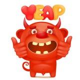 滑稽的与yeap标题的动画片红色小的恶魔emoji字符 免版税图库摄影