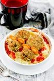 滑稽的丸子可怕老鼠万圣夜党装饰食物 库存图片