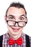 滑稽的书呆子面孔 免版税库存图片