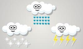滑稽的云彩天气雨雪风暴标志 免版税库存图片