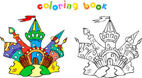滑稽的五颜六色的城堡彩图 免版税库存照片