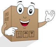 滑稽的交付纸板箱字符 免版税库存照片