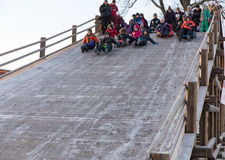 滑稽的人民滑下来冰幻灯片 库存图片