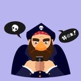 滑稽的传染媒介例证 海盗发短信 库存图片