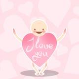 滑稽的传染媒介字符 有桃红色颜色的心脏的身体的一个微笑的人 传染媒介问候在华伦泰` s天 库存照片
