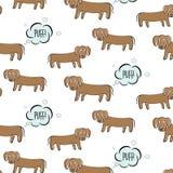 滑稽的传染媒介达克斯猎犬例证 与惊奇的面孔的狗屁 做气体,难闻的气味幽默印刷品的动画片小狗 丑恶 库存例证