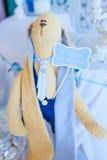 滑稽的兔子,织品玩具 免版税库存照片