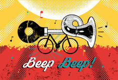 滑稽的减速火箭的难看的东西海报哔哔哔哔!有汽车喇叭的自行车 也corel凹道例证向量 库存照片