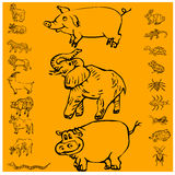 滑稽的动物传染媒介例证 库存照片