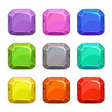 滑稽的动画片五颜六色的方形的传染媒介按钮 库存例证