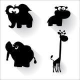滑稽的动画片动物剪影 免版税库存图片