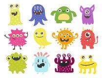 滑稽的动画片妖怪逗人喜爱的外籍人字符生物愉快的例证恶魔五颜六色的动物传染媒介 库存照片