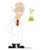 滑稽的动画片科学家 免版税库存照片