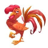 滑稽的动画片红色公鸡 向量例证