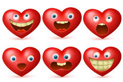 滑稽的动画片红色心脏字符emoji集合 免版税库存图片