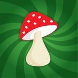 滑稽的动画片红色蘑菇 库存照片