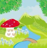 滑稽的动画片蘑菇房子 免版税库存图片