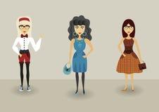 滑稽的动画片行家字符,有行家时尚的年轻浪漫女孩 图库摄影