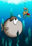 滑稽的动画片鱼和蠕虫 免版税库存图片