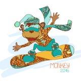 滑稽的动画片猴子挡雪板 新年的标志2016年 库存照片