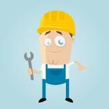 滑稽的动画片建筑工人 免版税库存照片