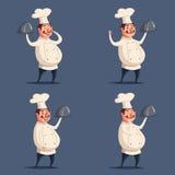 滑稽的厨师,逗人喜爱的字符 男孩动画片不满意的例证少许向量 免版税库存照片