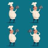 滑稽的厨师,逗人喜爱的字符 男孩动画片不满意的例证少许向量 图库摄影