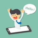 滑稽的商人惊奇从智能手机出现并且问好,电视电话会议,手机应用 皇族释放例证