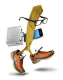 滑稽的商人领带字符动画片赛跑 免版税库存图片