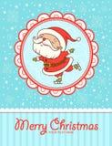 滑稽的圣诞卡。圣诞老人滑冰。 库存照片