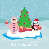 滑稽的圣诞卡-企鹅和一个小爱斯基摩人 免版税库存图片