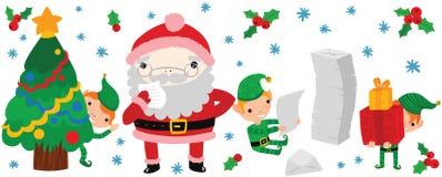 读滑稽的圣诞老人做名单 向量例证