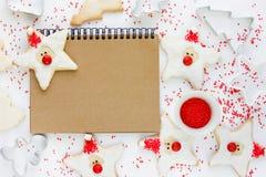 滑稽的圣诞老人曲奇饼-圣诞节和新年为孩子对待 库存照片