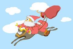 滑稽的圣诞老人飞行 库存图片