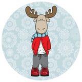 滑稽的圣诞节时髦鹿 库存例证
