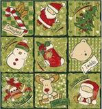 滑稽的圣诞节补缀品元素 免版税库存照片