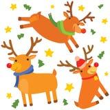 滑稽的圣诞节驯鹿三重奏 向量例证