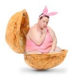 滑稽的复活节兔子。 免版税库存图片