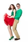 滑稽的夫妇佩带的镜片跳舞 免版税库存照片