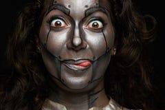 滑稽的妇女面孔 库存图片