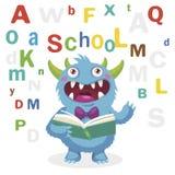滑稽的妖怪在白色背景读了书 动画片传染媒介例证 回到学校主题 色的信件传染媒介 库存照片