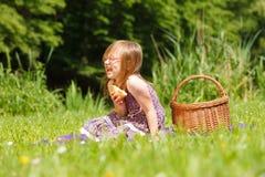滑稽的嬉戏的小女孩有野餐在公园 免版税库存照片