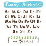 滑稽的字母表 手拉的书法字体 ABC被绘的信件 免版税图库摄影