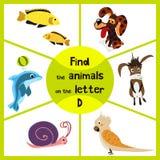 滑稽的学习的迷宫比赛,发现与信件D的全部3个逗人喜爱的动物,一只海豚、一条狗和一头驴 孩子的教育页 免版税库存照片