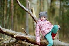 滑稽的小女孩坐日志在森林远足期间 库存照片