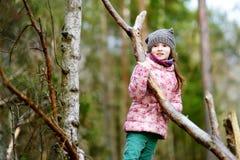 滑稽的小女孩坐日志在森林远足期间 库存图片
